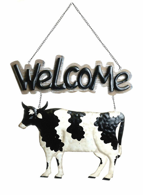 Farmhouse Cow Metal Welcome Sign