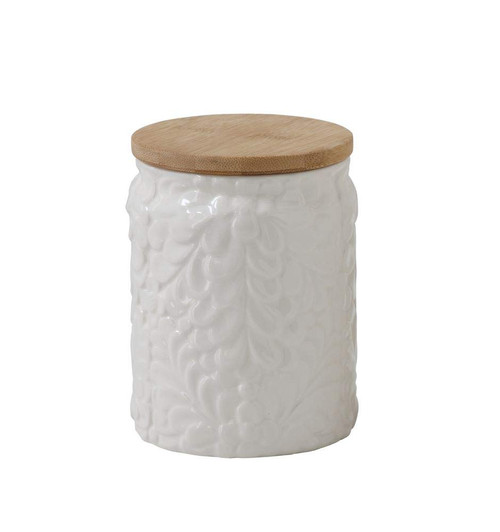 Floral Embossed Canister with Bamboo Lid