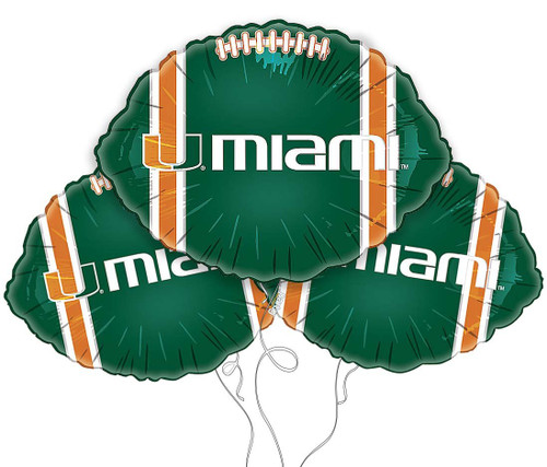 University of Miami Hurricanes Collegiate Mylar Balloons - Pack of 3