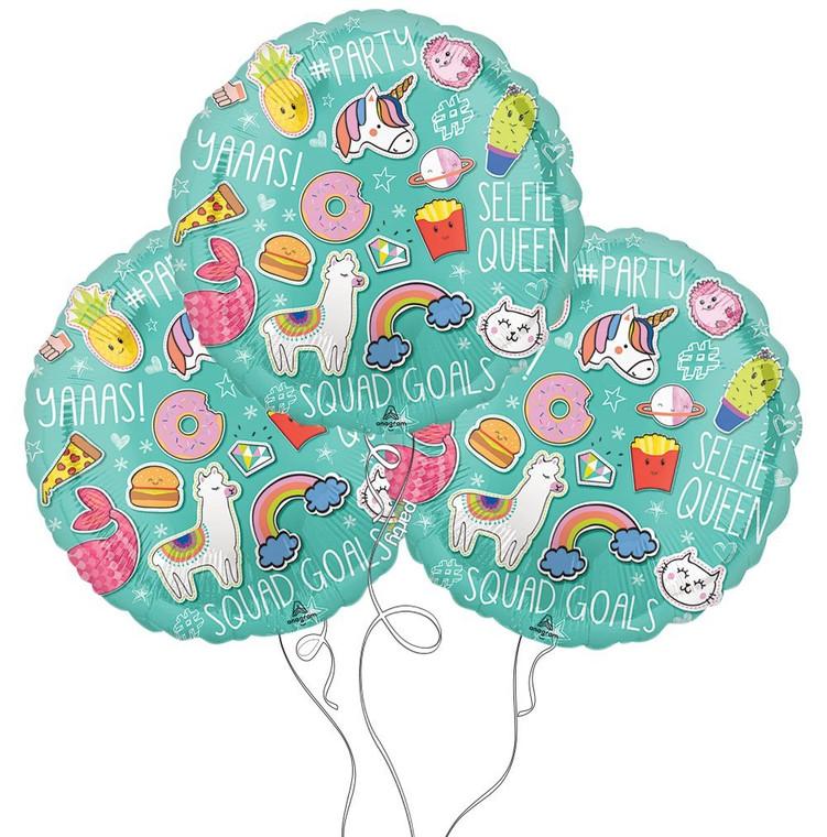 Selfie Celebration Themed Mylar Balloons - 3 Pack