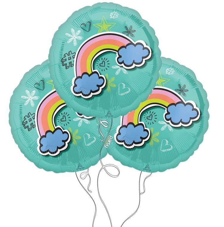 Rainbow Celebration Selfie Mylar Balloons - 3 Pack