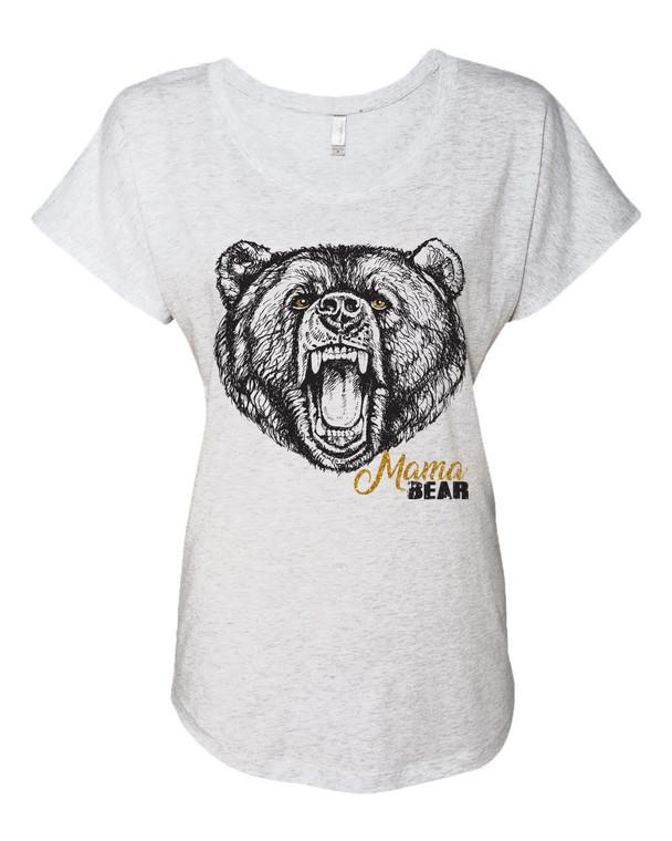 Mama Bear Metallic Mother's Day Themed Adult T-Shirt