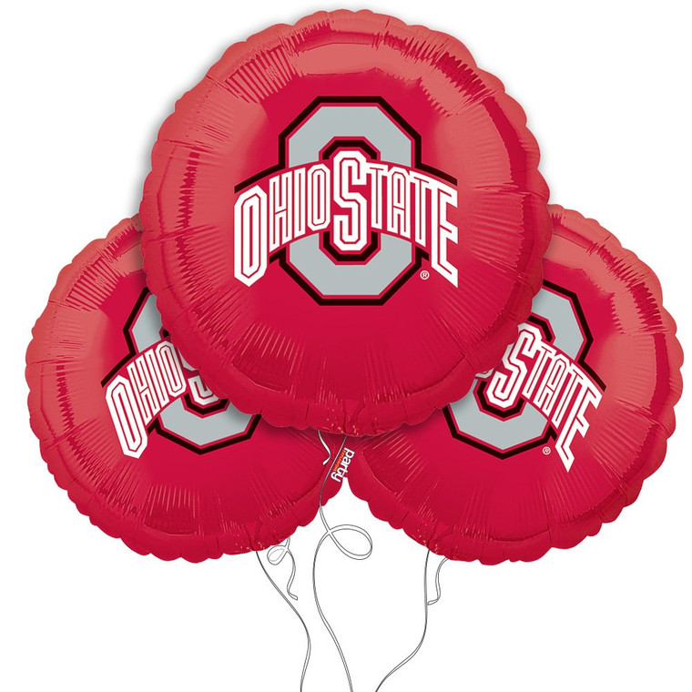 Ohio State Buckeyes Collegiate Mylar Balloons - Pack of 3