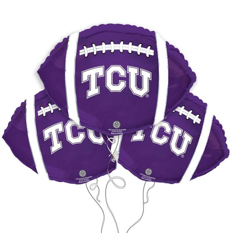 Texas Christian University Horned Frogs Collegiate Mylar Balloons - Pack of 3