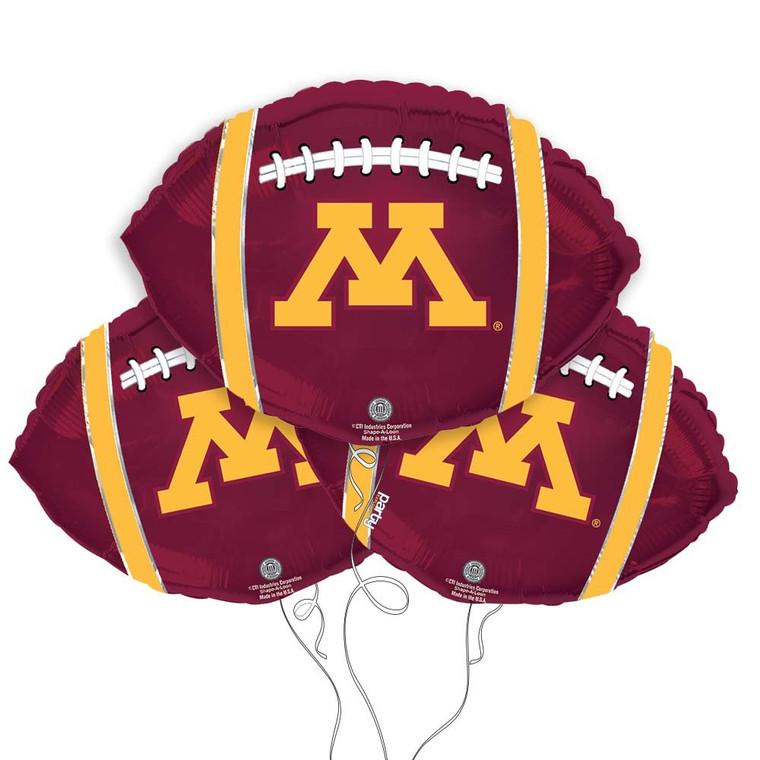 University of Minnesota Golden Gophers Collegiate Mylar Balloons - Pack of 3