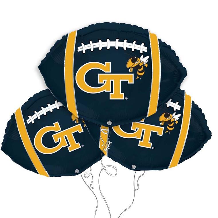 Georgia Tech Yellow Jackets Collegiate Mylar Balloons - Pack of 3