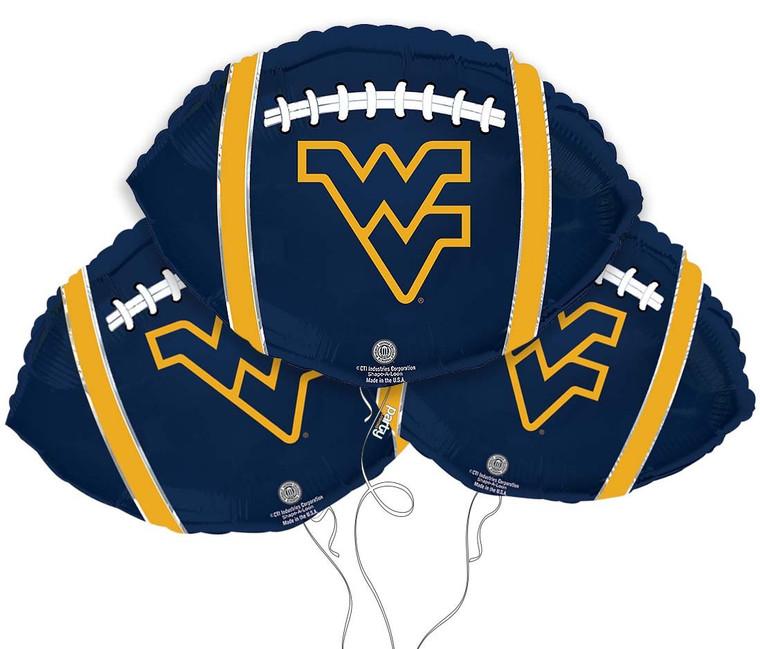 West Virginia University Mountaineers Collegiate Mylar Balloons - Pack of 3