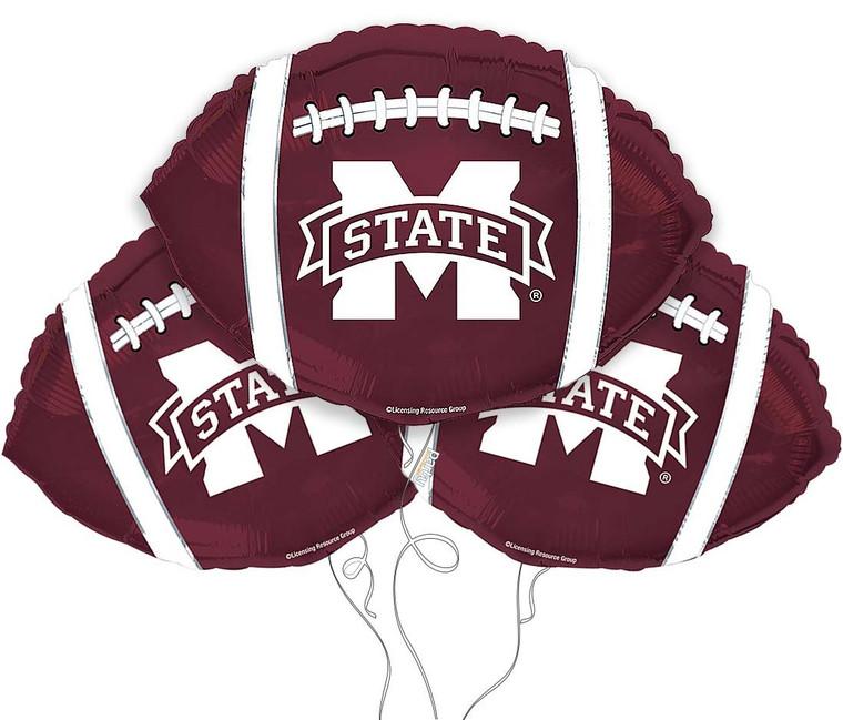 Mississippi State Bulldogs Collegiate Mylar Balloons - Pack of 3