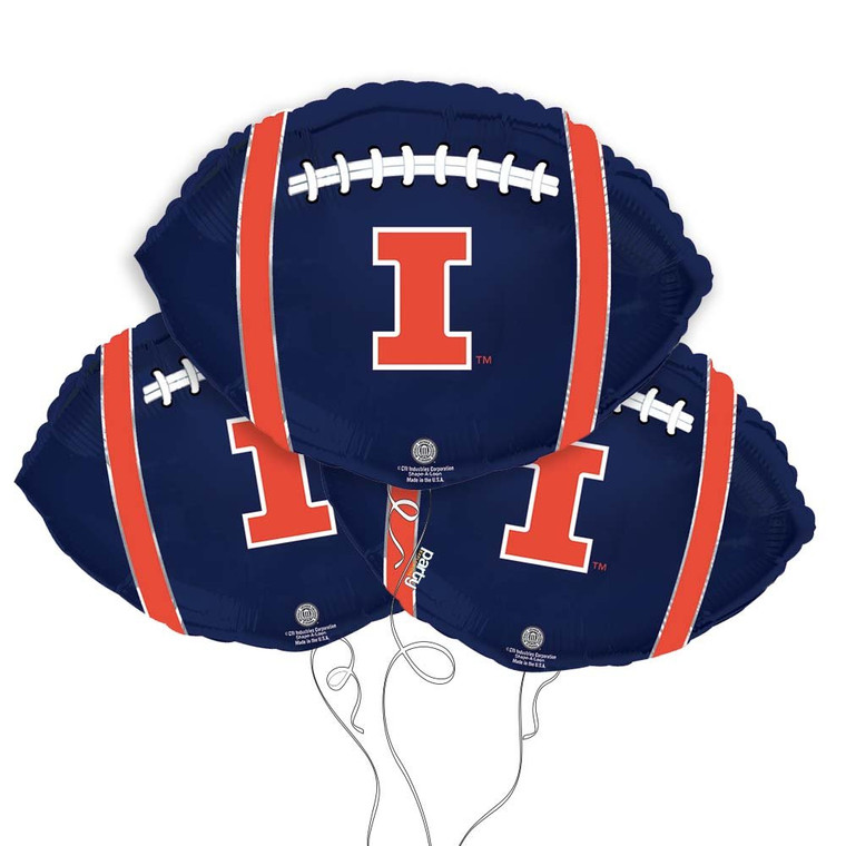 University of Illinois Fighting Illini Collegiate Mylar Balloons - Pack of 3