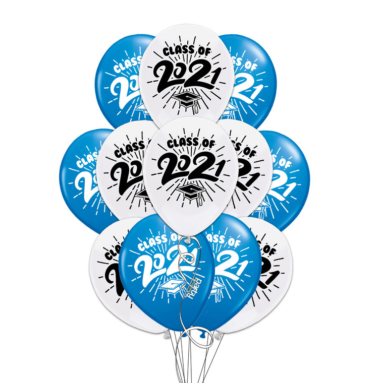 """Class of 2021 Blue & White Graduation 11"""" Latex Balloons - 12 Pack"""