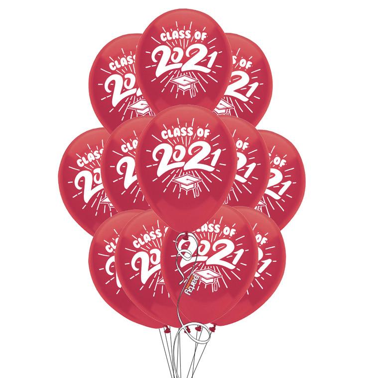 "Class of 2021 Burgundy Graduation 11"" Latex Balloons - 12 Pack"