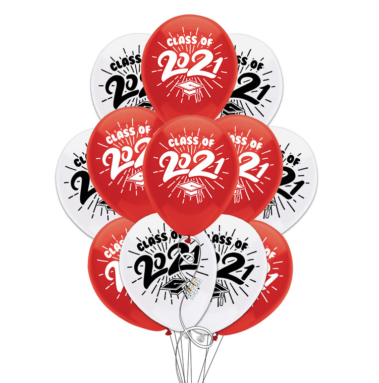 "Class of 2021 Red & White Graduation 11"" Latex Balloons - 12 Pack"