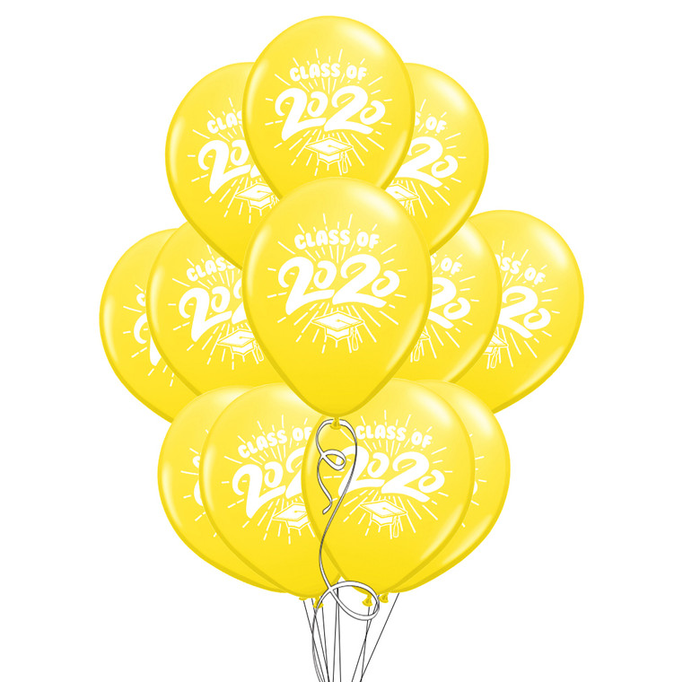 "Class of 2020 Yellow Graduation 11"" Latex Balloons - 12 Pack"