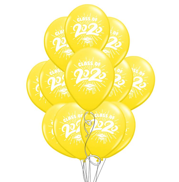 "Class of 2020 Yellow Graduation 11"" Latex Balloons - 12 Pack"