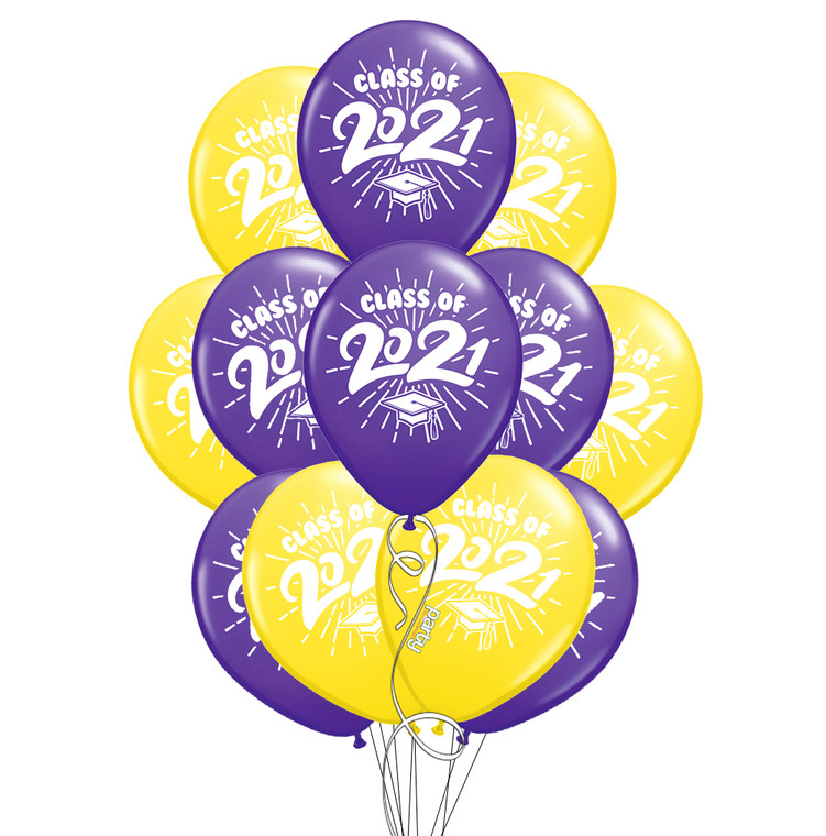 "Class of 2021 Purple & Yellow Graduation 11"" Latex Balloons - 12 Pack"
