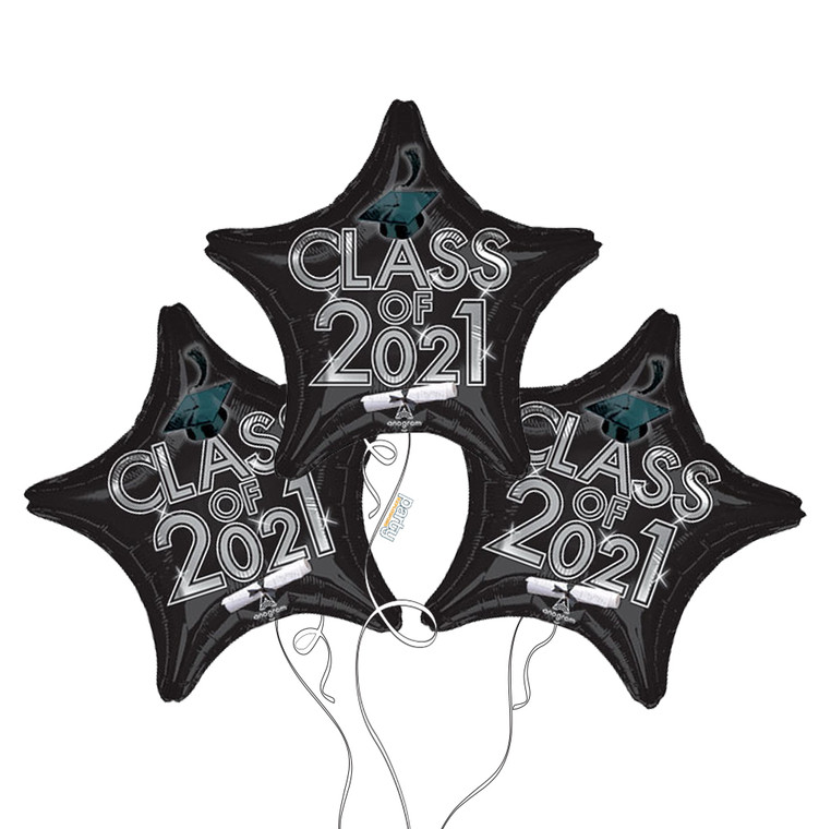 Class of 2021 Star Mylar Balloons in Black - 3 Pack