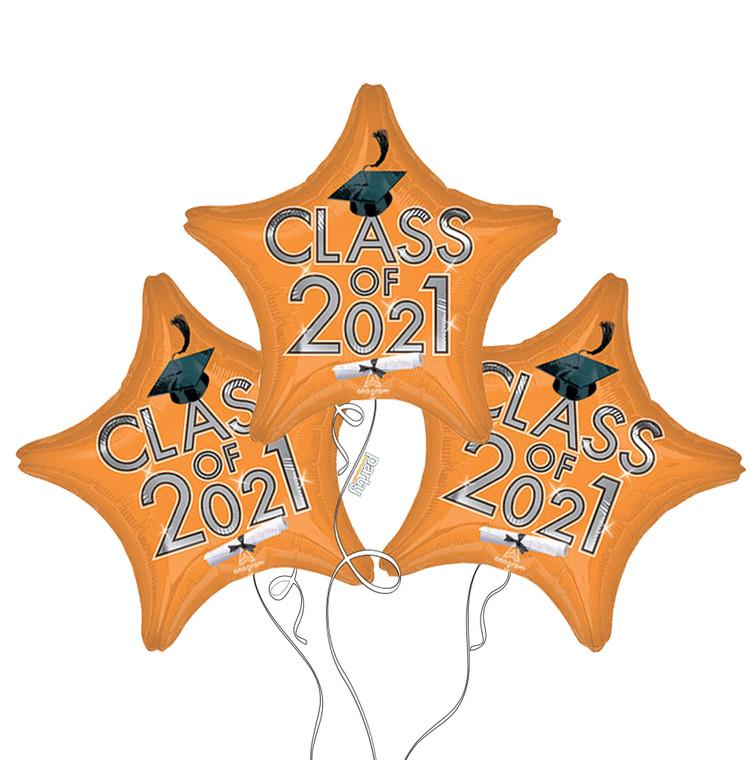Class of 2021 Star Mylar Balloons in Orange - 3 Pack