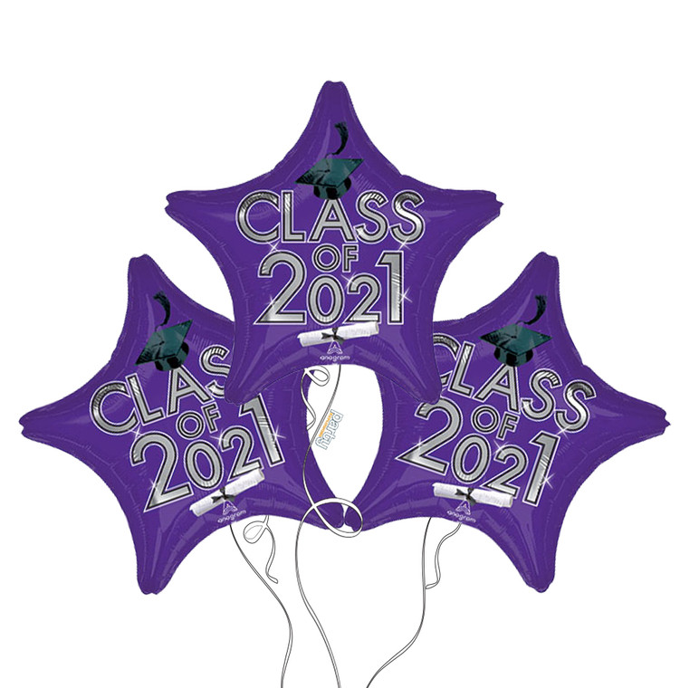 Class of 2021 Star Mylar Balloons in Purple - 3 Pack