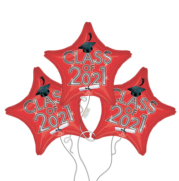 Class of 2021 Star Mylar Balloons in Red - 3 Pack