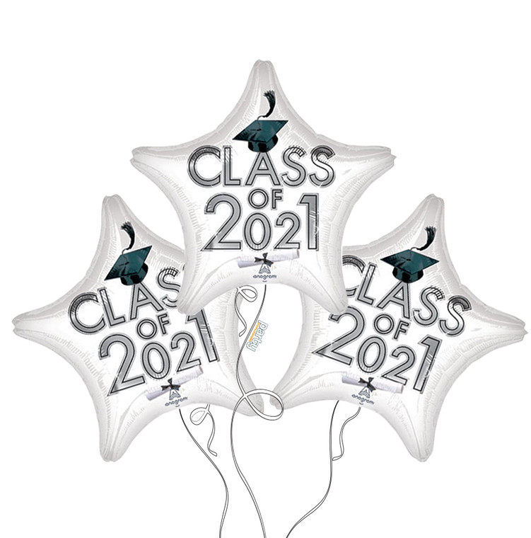 Class of 2021 Star Mylar Balloons in White - 3 Pack