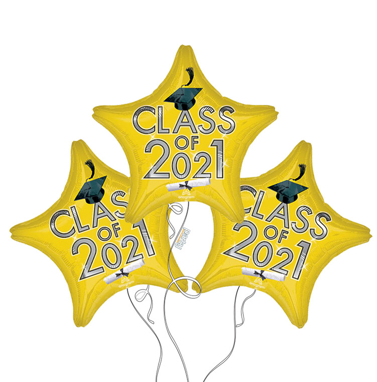 Class of 2021 Star Mylar Balloons in Yellow - 3 Pack