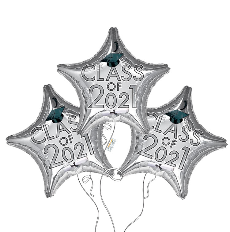 Class of 2021 Star Mylar Balloons in Silver - 3 Pack