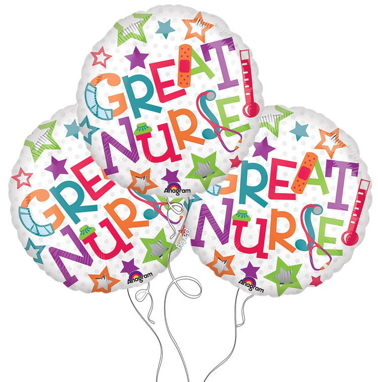 Great Nurse Mylar Balloon - 3-Pack