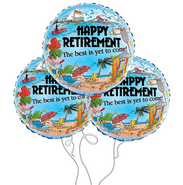 Happy Retirement Themed Mylar Balloon - 3-Pack