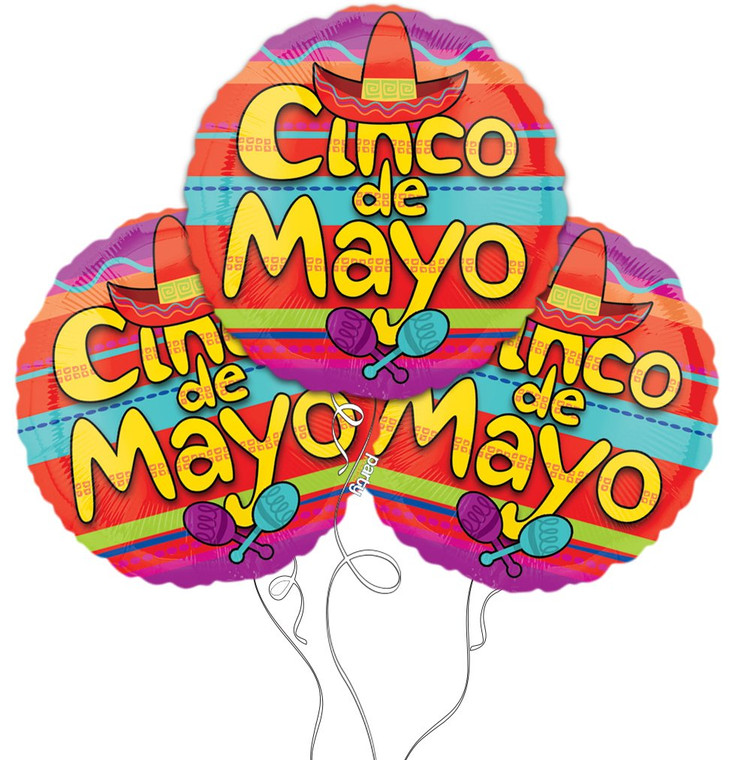 Cinco De Mayo Themed Mylar Balloons - 3 Pack