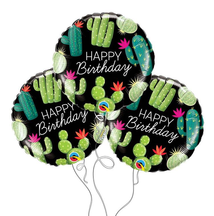 Copy of Succulent Cacti Happy Birthday Mylar Balloon Mini Bouquet
