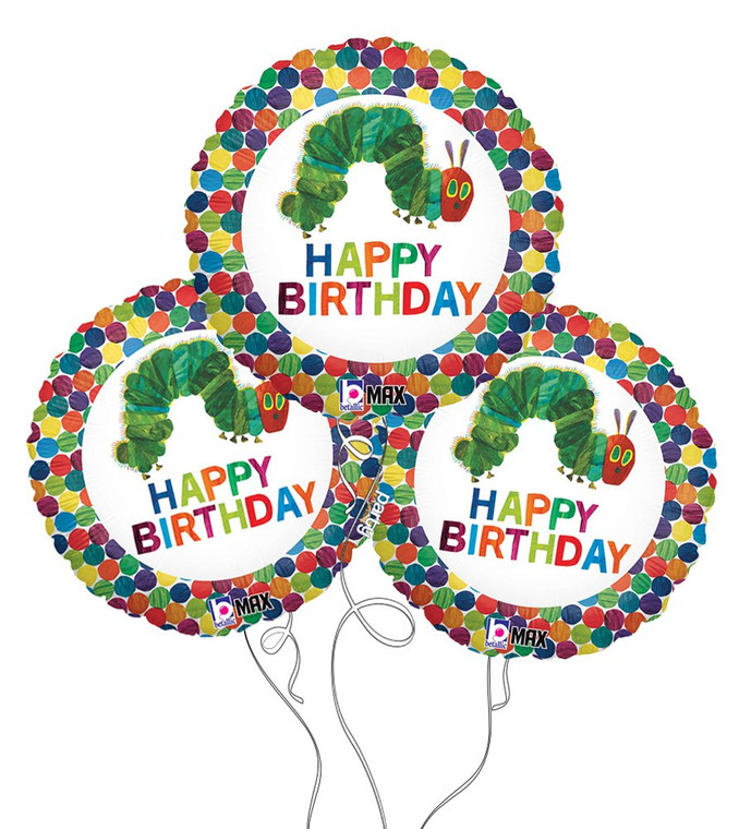 The Very Hungry Caterpillar Happy Birthday Mylar Balloons - 3-Pack