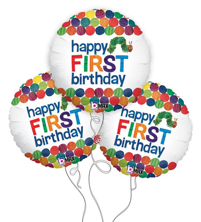 The Very Hungry Caterpillar Happy 1st Birthday Mylar Balloons - 3-Pack