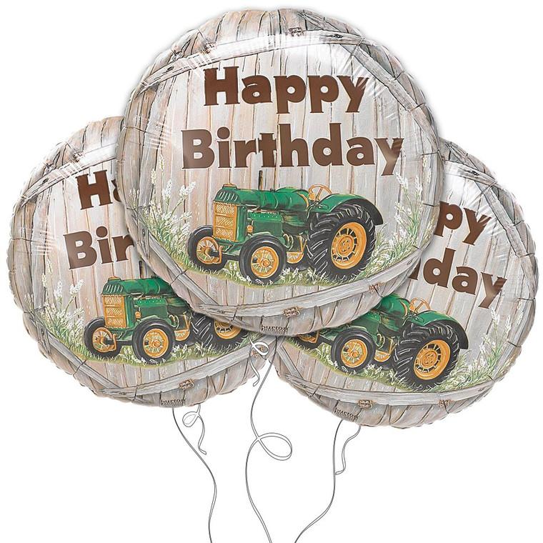 "Green Tractor Happy Birthday 18"" Mylar Balloon 3pk"