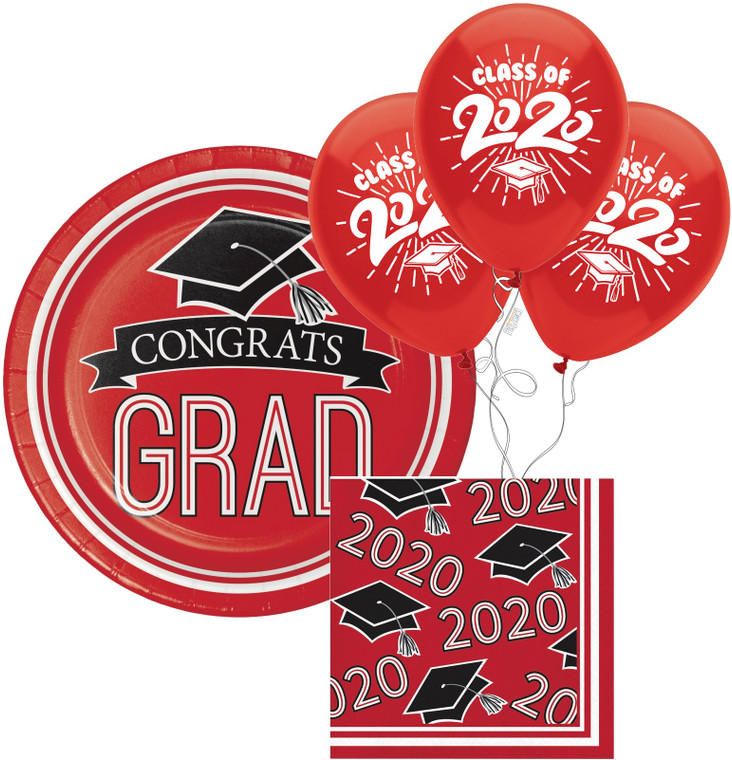 Class of 2020 Dessert Plates & Napkins - Red