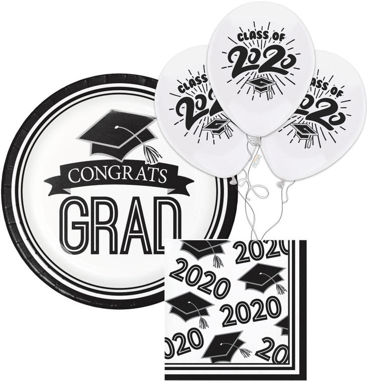 Class of 2020 Dessert Plates & Napkins - White