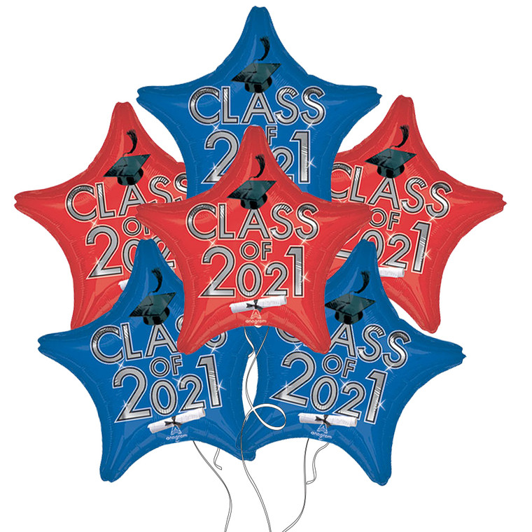 Class of 2021 Star Mylar Balloons in Blue & Red - 6 Pack