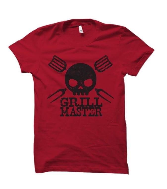 Grill Master Skull Adult T-Shirt (Red)