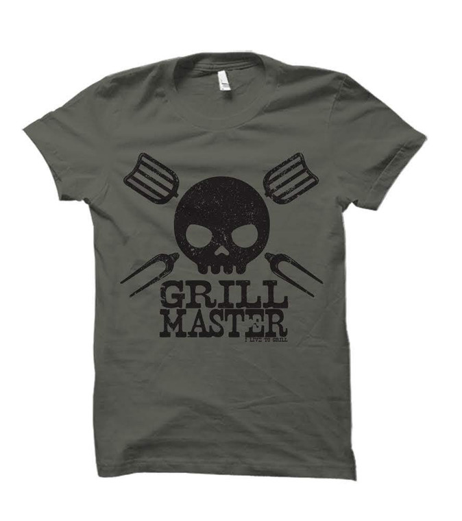 Grill Master Skull Adult T-Shirt (Military Green)