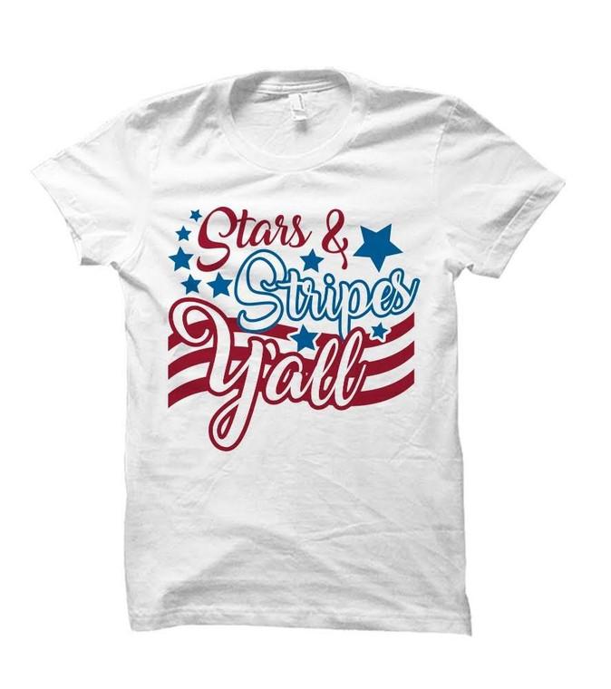 Stars & Stripes Y'all Patriotic Adult T-Shirt