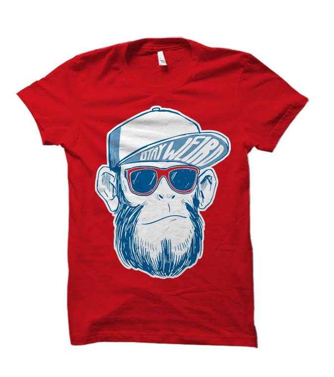 Stay Weird Hipster Monkey Adult & Youth T-Shirt
