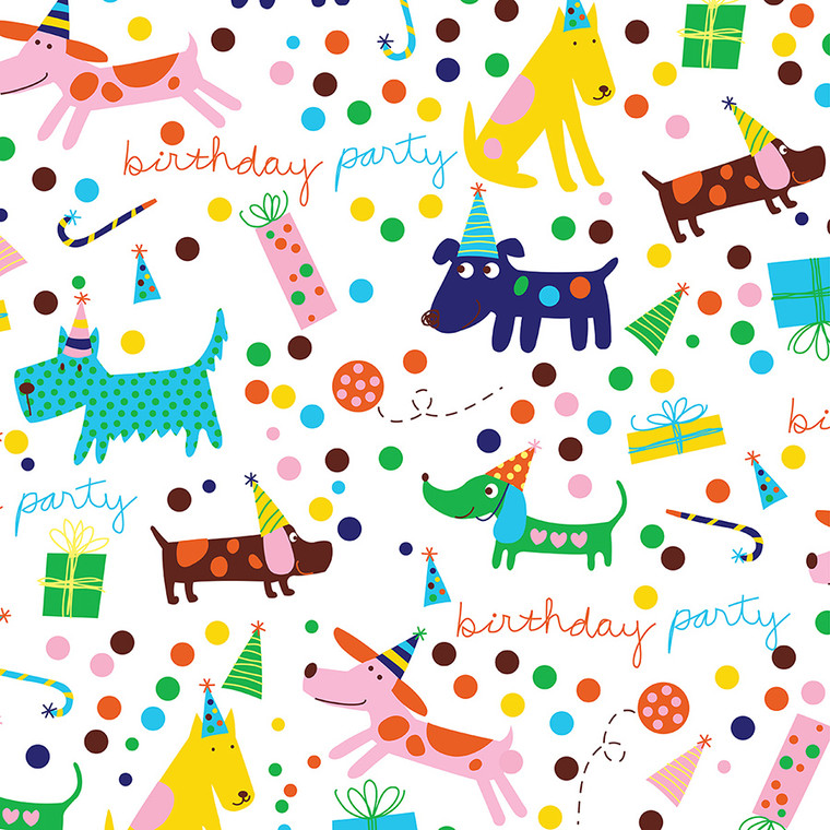 """Barkday Birthday Gift Wrapping Paper Roll 24"""" X 16'"""