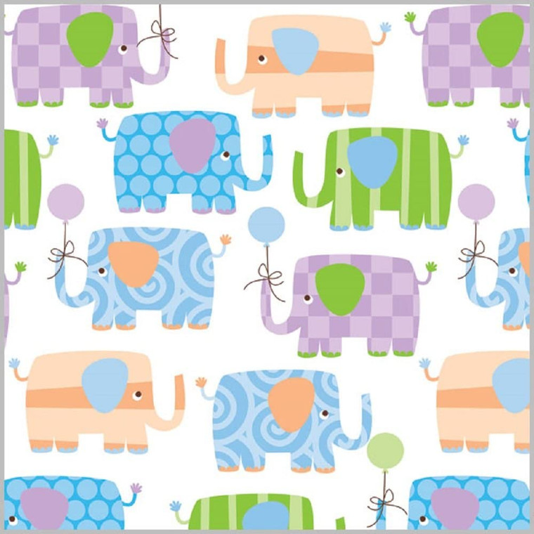 "Baby Elephant Gift Wrap Flat Sheet 24"" X 6'"