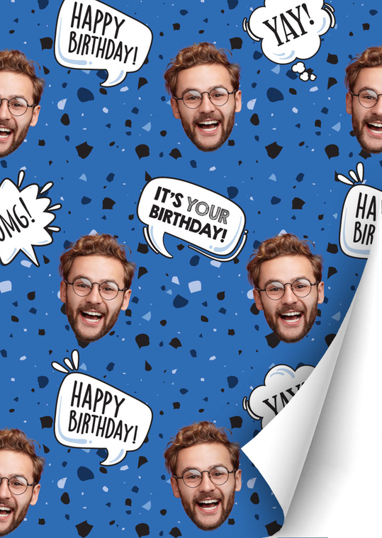 Birthday Boy Speckled Custom Gift Wrap | Personalized Photo Wrapping Paper Roll - 24' x 6'