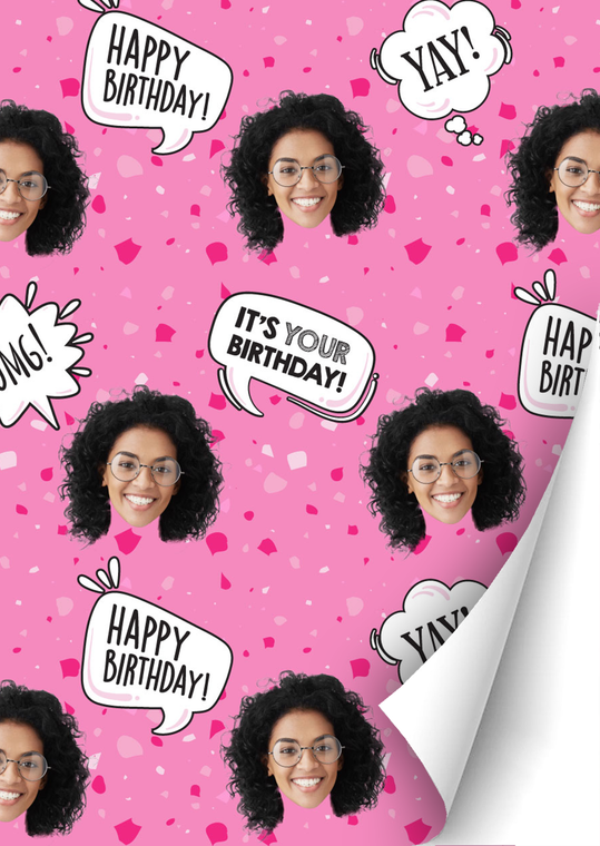Birthday Girl Speckled Custom Gift Wrap | Personalized Photo Wrapping Paper Roll - 24' x 20'