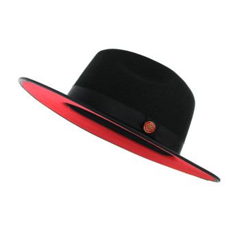 Black Red Bottom Flat Brim Fedora Hat The Mornarch