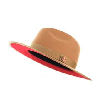 Acorn Red Bottom Flat Brim Fedora Hat The Mornarch