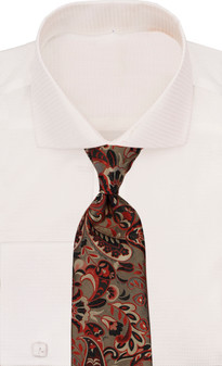 Verse 9 Taupe Red Black Gold Floral Neck Tie