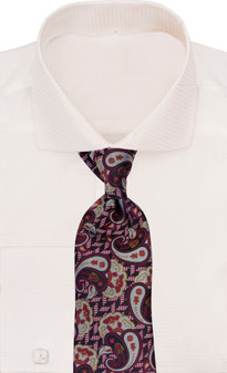 Verse 9 Navy Red Silver Paisley Neck Tie