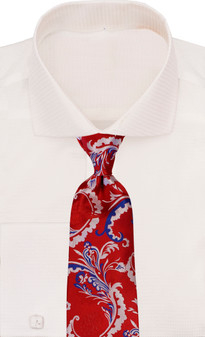 Verse 9 Red White Royal Paisley Neck Tie
