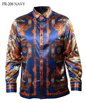 PRESTIGE VERSACE INSPIRED NAVY ORANGE SHIRT (PR-208-NAVY)
